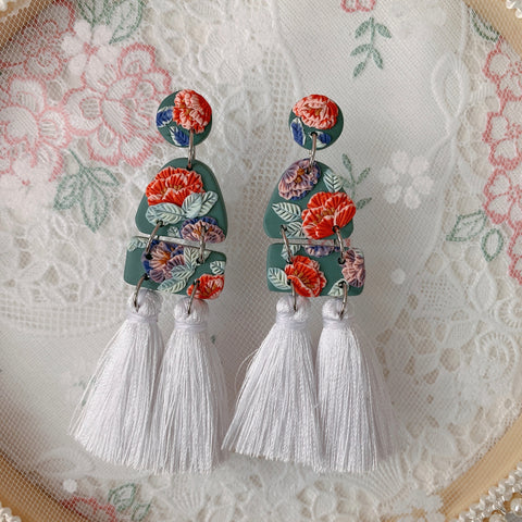 Handmade Polymer Clay Earrings - Lantern 10