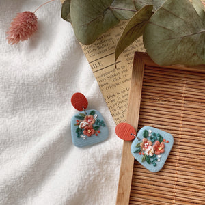 Handmade Polymer Clay Earrings - Fleur Collection Dangle 03
