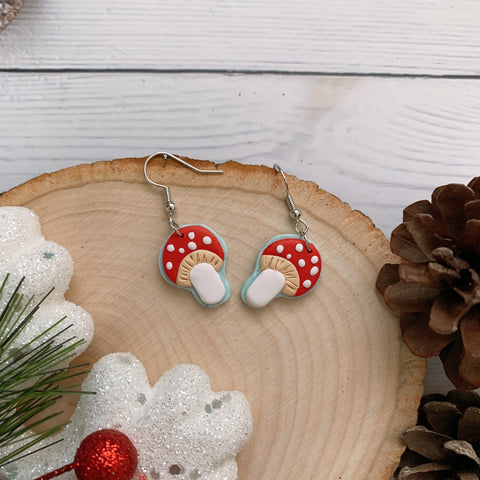 Handmade Polymer Clay Earrings - Mushroom daily dangle 11
