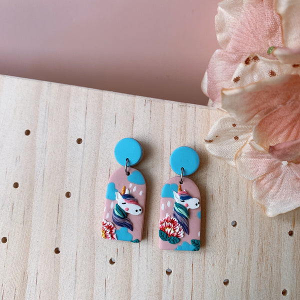 Handmade Polymer Clay Earrings - Unicorn blossom arch dangle 01