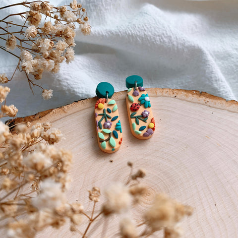 Handmade Polymer Clay Earrings - Grandma Garden 01
