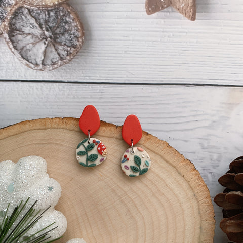 Handmade Polymer Clay Earrings - Mushroom & foliage daily dangle 10