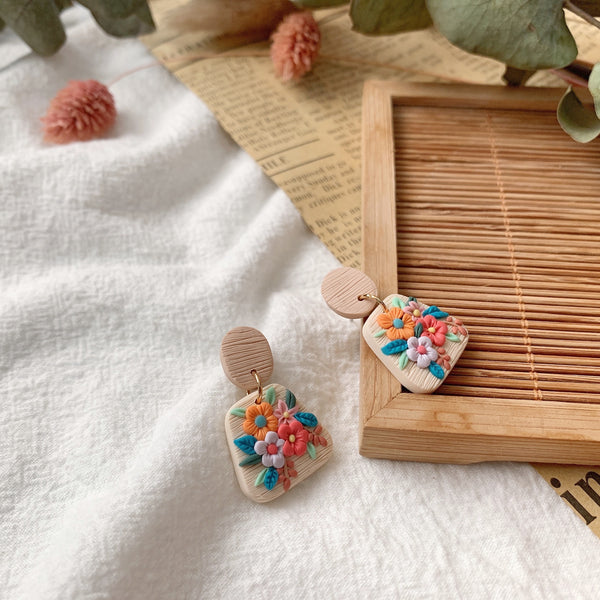 Handmade Polymer Clay Earrings - Fleur Collection Dangle 09