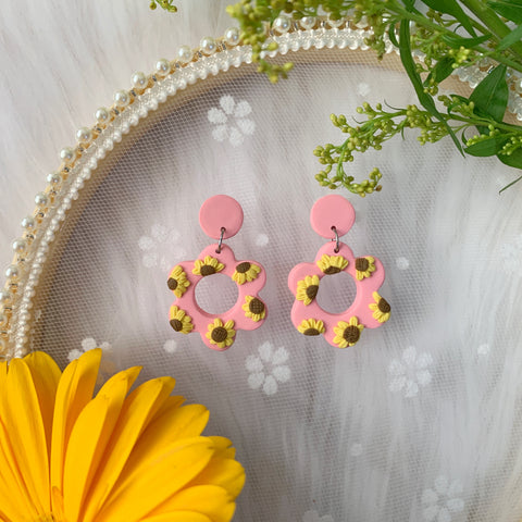 Handmade Polymer Clay Earrings - Sunshine Pastel Pink Flower Dangle 06