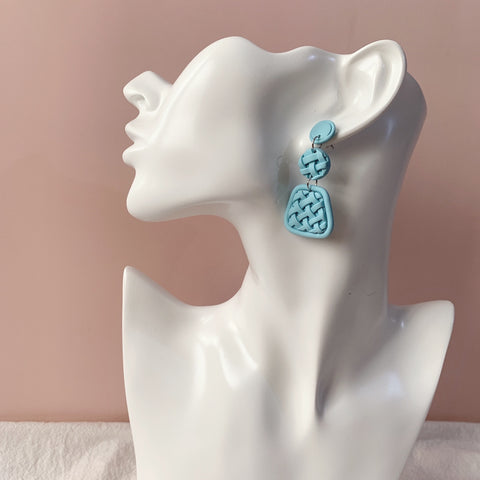 Handmade Polymer Clay Earrings - Woven Clay Long Dangle - Sky Blue