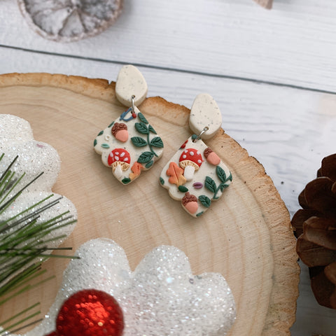 Handmade Polymer Clay Earrings - Mushroom & foliage daily dangle 05