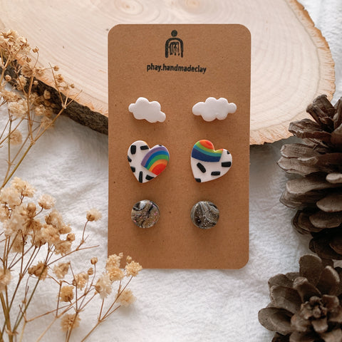 Handmade Polymer Clay Earrings - 3in1 Stud pack stainless steel value gift pack 05