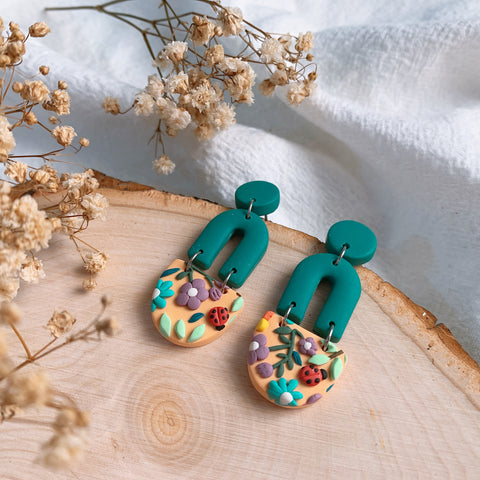 Handmade Polymer Clay Earrings - Grandma Garden 02