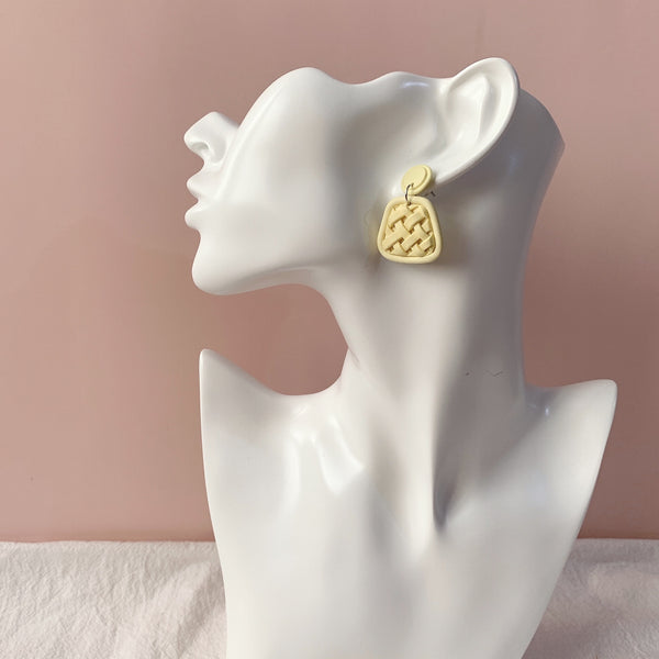 Handmade Polymer Clay Earrings - Woven Clay Dangle Earrings