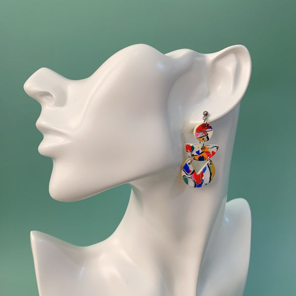 Handmade Polymer Clay Earrings - Neon Abstract 03
