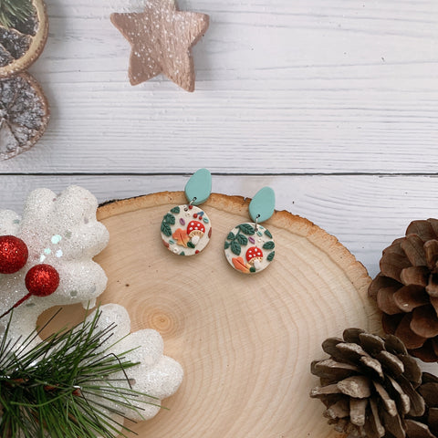 Handmade Polymer Clay Earrings - Mushroom & foliage daily dangle 07