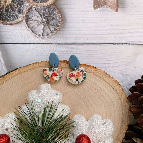 Handmade Polymer Clay Earrings - Mushroom & foliage daily dangle 08