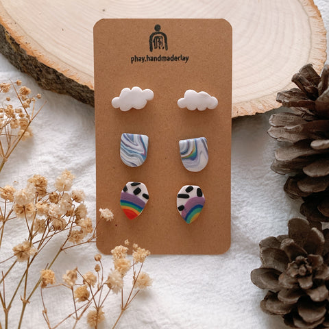 Handmade Polymer Clay Earrings - 3in1 Stud pack stainless steel value gift pack 01