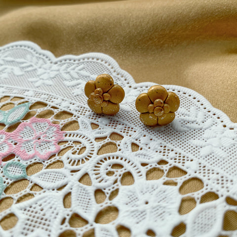 Handmade Polymer Clay Earrings - Copper Gold Leaf Mini Flower Stud