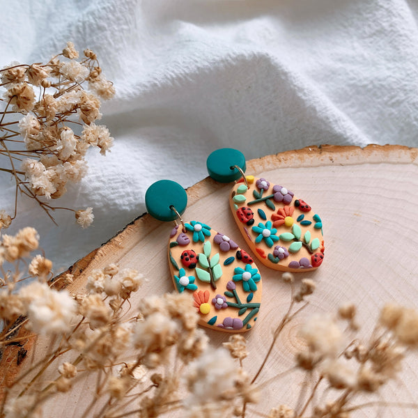 Handmade Polymer Clay Earrings - Grandma Garden 04