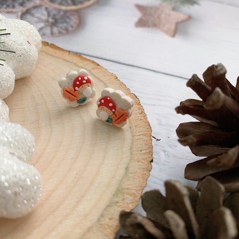 Handmade Polymer Clay Earrings - Mushroom foliage oriental stud 12