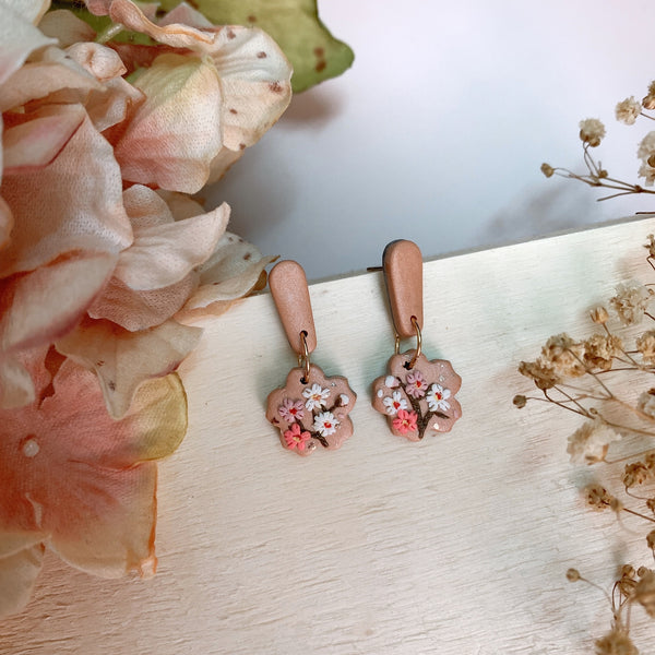 Handmade Polymer Clay Earrings - Cherry blossom sakura dangle 01
