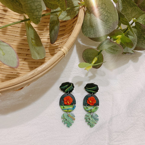 Handmade Polymer Clay Earrings - Bunga Raya 03