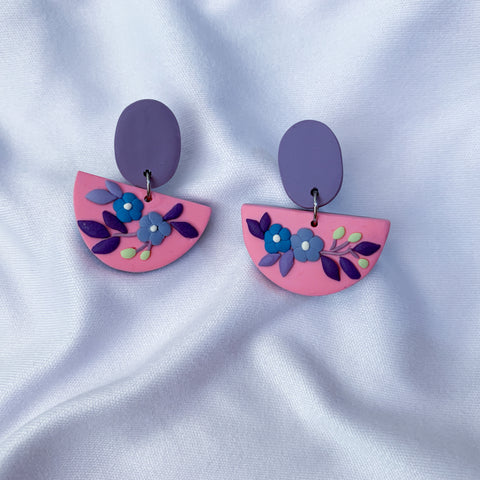 Handmade Polymer Clay Earrings - Secret Garden Dangle 06