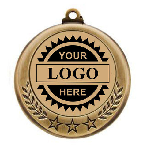 "Logo Insert Medal - GOLD Three Star - Black Engraving - 2 3/4"" Diameter"