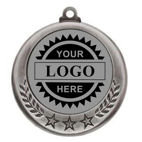 "Logo Insert Medal - SILVER Three Star - 2 3/4"" Diameter (A2804) - Quest Awards"