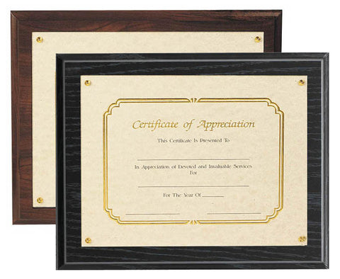 Certificate Frame - Recessed Plaque (A2261) - Quest Awards
