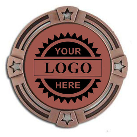 "Logo Insert Medal - BRONZE Four Star - 2 3/4"" Diameter (A2787) - Quest Awards"