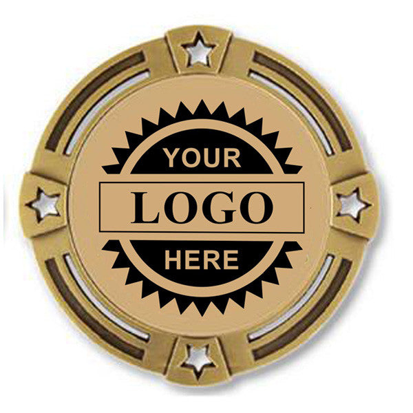 "Logo Insert Medal - GOLD Four Star - 2 3/4"" Diameter (A2795) - Quest Awards"