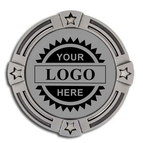"Logo Insert Medal - SILVER Four Star - 2 3/4"" Diameter (A2803) - Quest Awards"
