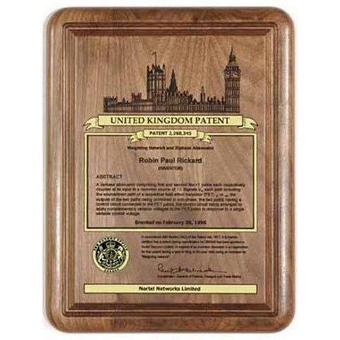 United Kingdom Patent Plaque - Solid Walnut (A3150) - Quest Awards