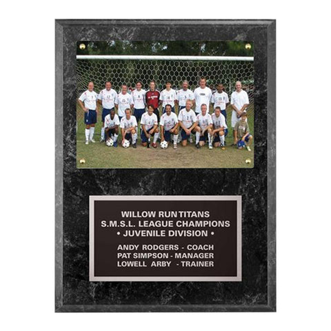 "Photo Plaque - Black Granite 9""x12"" plaque holds ""5""x7"" photo (A3497) - Quest Awards"