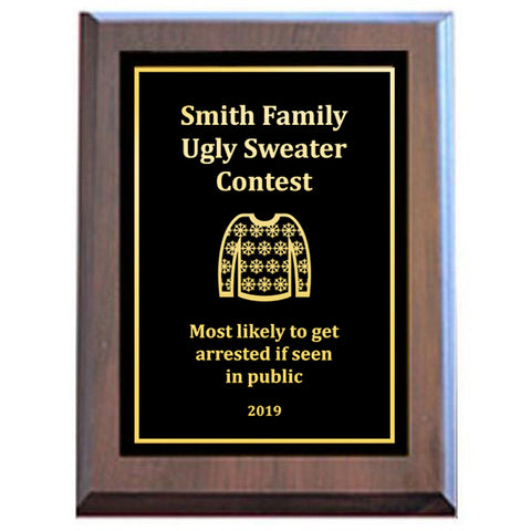 Ugly Sweater Plaque - Black Plate with Gold Engraving 2 Sizes (A3653)