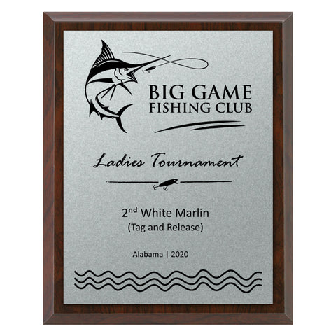 Fishing Plaque - Economy - Brushed Silver Plate/Blk Engraving (A3743)
