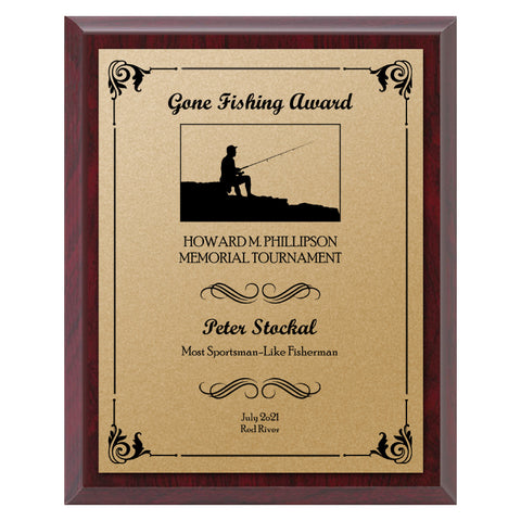 Fishing Plaque - Economy - Gold Plate/Blk Engraving (A3742)