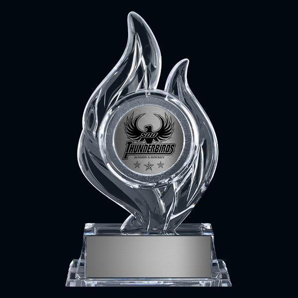 "Acrylic Award - Krystal Flame 2"" Holder (A3396) - Quest Awards"