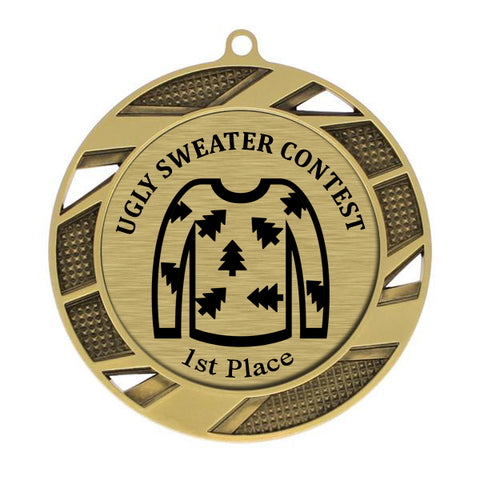 "Ugly Sweater Medallion - 1st Place - Gold Solar Series Medal 2 3/4"" Diameter (A3645)"