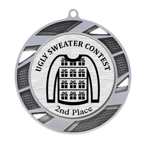 "Ugly Sweater Medallion - 2nd Place - Silver Solar Series Medal 2 3/4"" Diameter (A3646) - Quest Awards"