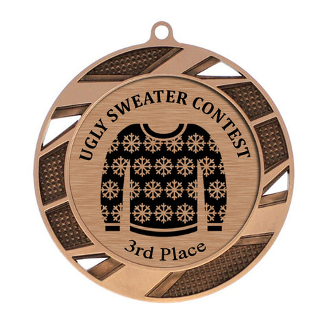 "Ugly Sweater Medallion - 3rd Place - Bronze Solar Series Medal 2 3/4"" Diameter (A3647) - Quest Awards"
