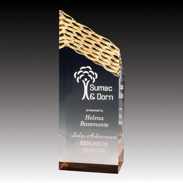 Acrylic Award - Prism Weave - Gold (A2090) - Quest Awards