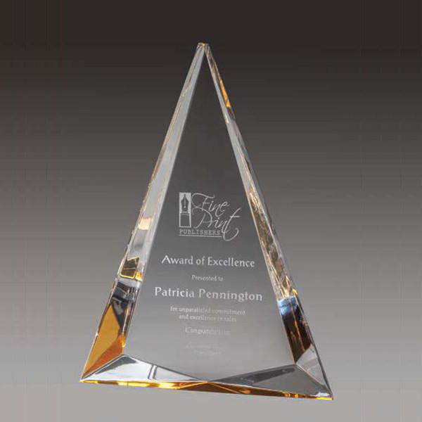 Acrylic Award - Prism Triangle - Gold - Quest Awards