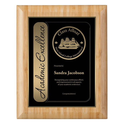 Plaque - Bamboo with Engraved Plate - 4 sizes (A2906) - Quest Awards