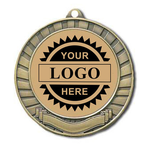 "Logo Insert Medal - GOLD Banner - Black Engraving - 2 3/4"" Diameter (A2791) - Quest Awards"