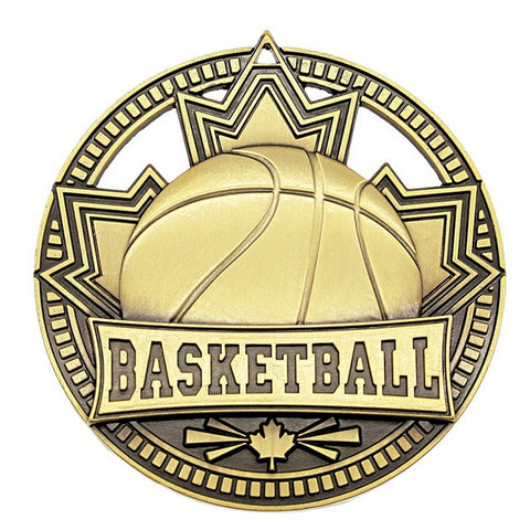 "Basketball Medallion Patriot Sport 2 3/4"" Diameter - Gold (A3750)"