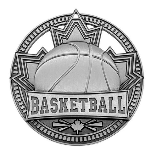 "Basketball Medallion Patriot Sport 2 3/4"" Diameter - Silver (A3751)"
