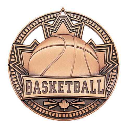 "Basketball Medallion Patriot Sport 2 3/4"" Diameter - Bronze (A3752)"