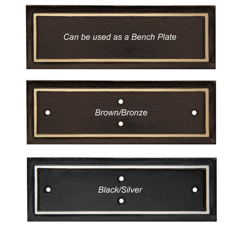 "Plaques - Cast Aluminum Bench Plate - 3"" x 9"" - Quest Awards"