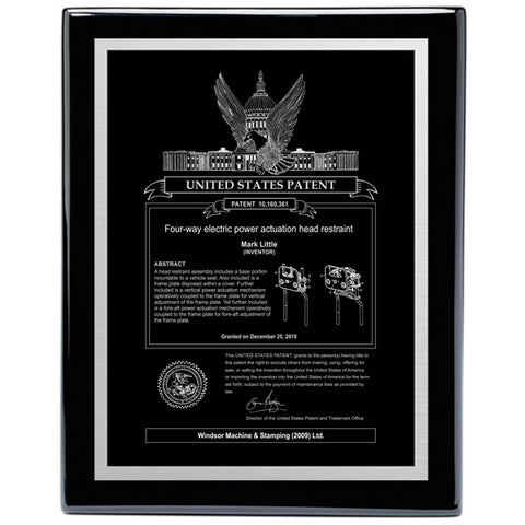 USA Patent Plaque - Black Piano with Silver Engraving (A3382) - Quest Awards