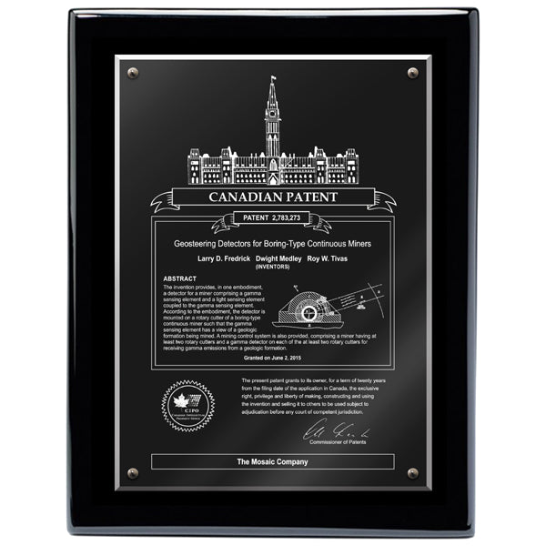 Canadian Patent Plaque - Acrylic Black Piano (A2256) - Quest Awards