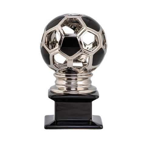 Soccer Trophy - Contempo Ceramic Soccer - Silver - Quest Awards