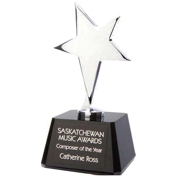 Star Award - Polished Metal Star and Square Black Crystal Base (A3079) - Quest Awards